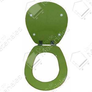 Asiento inodoro madera pilar verde palta con herraje acero for Inodoro verde