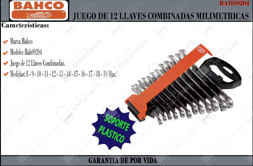 Jgo Llaves Combinadas 12 Pzs Bahco PU//SH12