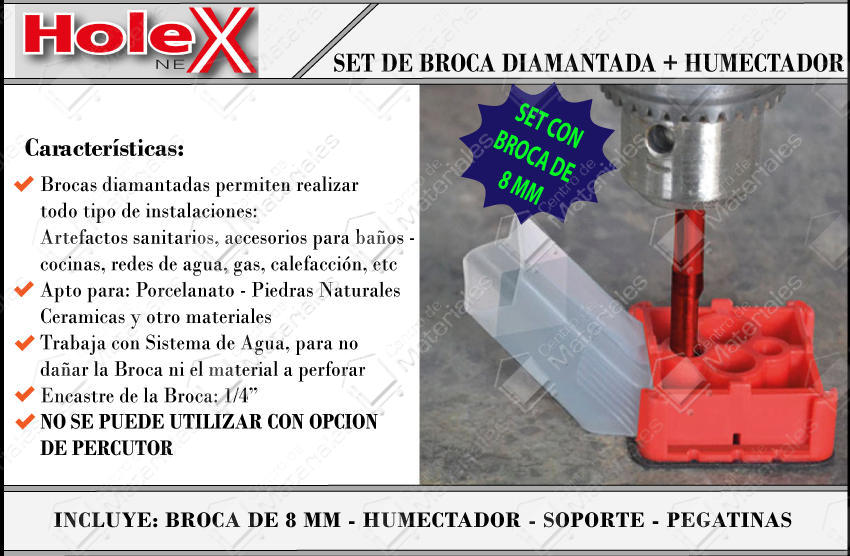 Hole Next Set Humectador + Broca Diamantada 8 Mm + Bases Autoadhesivas - Vista 1