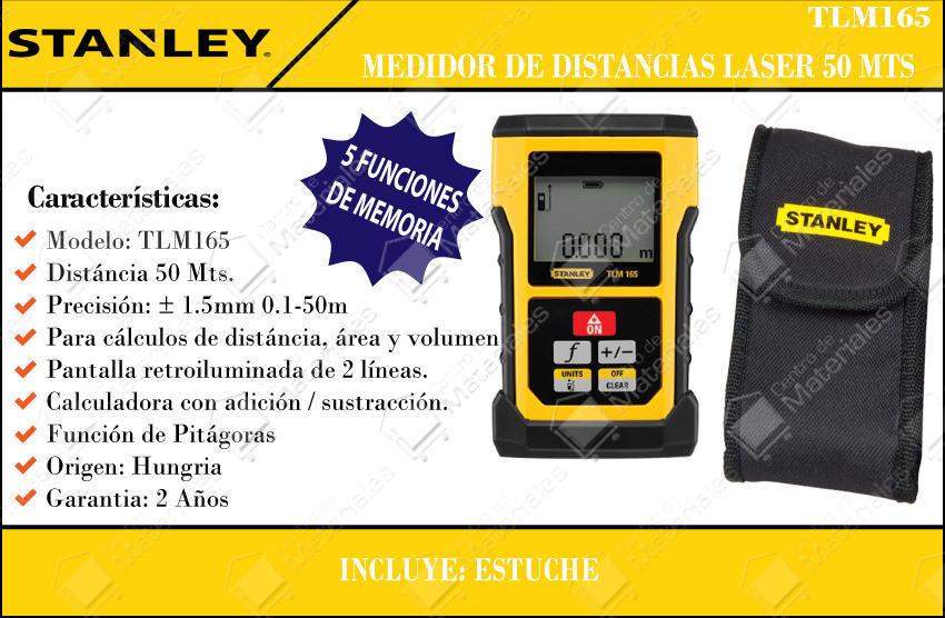 Stanley medidor de distancia laser 50 mts tlm 165 for Medidor de distancia laser
